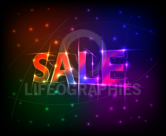 SALE text made of neon lights effect