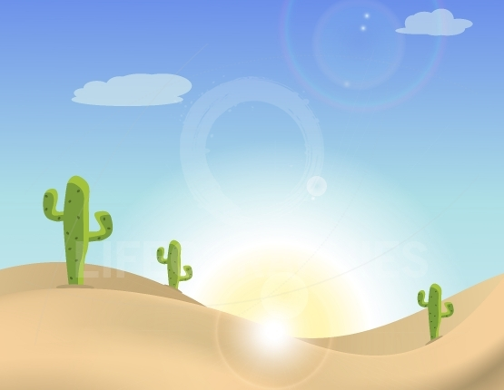 Scene of a cactus in the desert