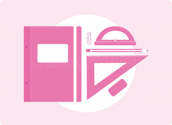 School supplies in pink