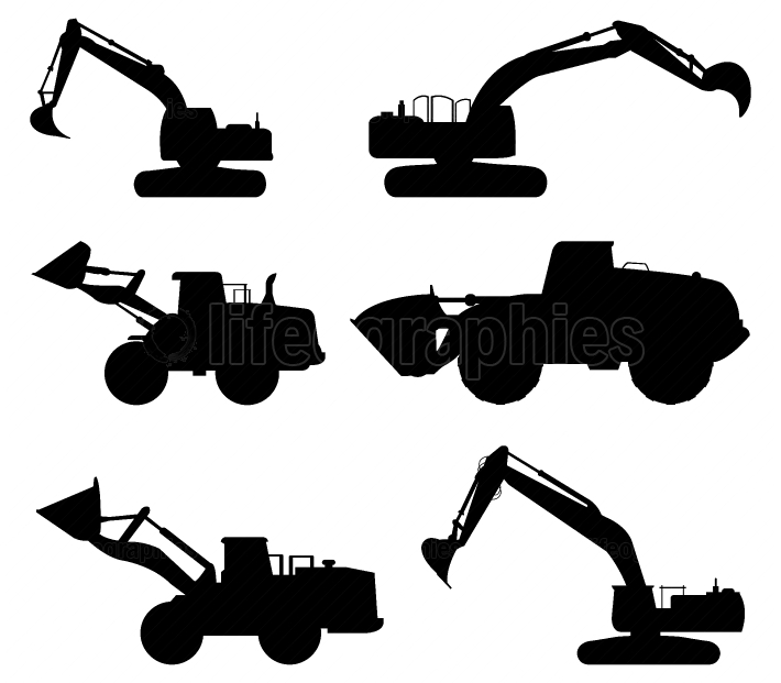 set of excavators