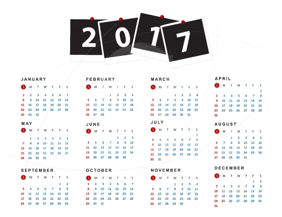 Simple calendar for 2017 year. Week starts from sunday