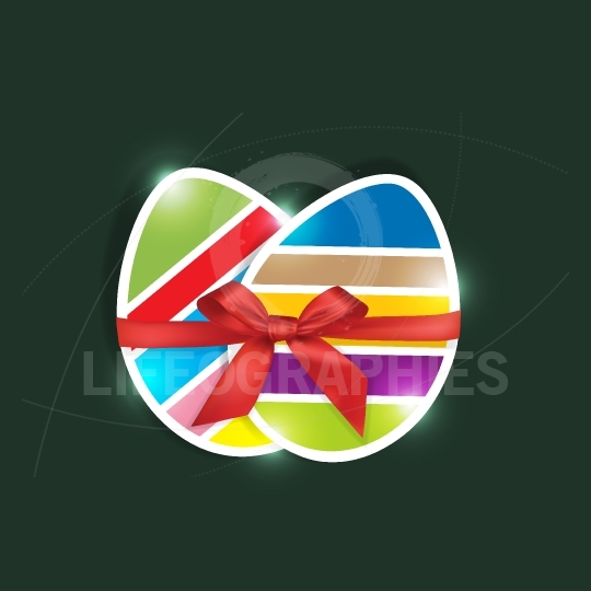 Sliced Easter eggs gift in green background