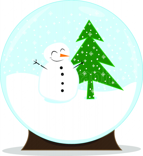 Snow globe with a cute smiling snowman