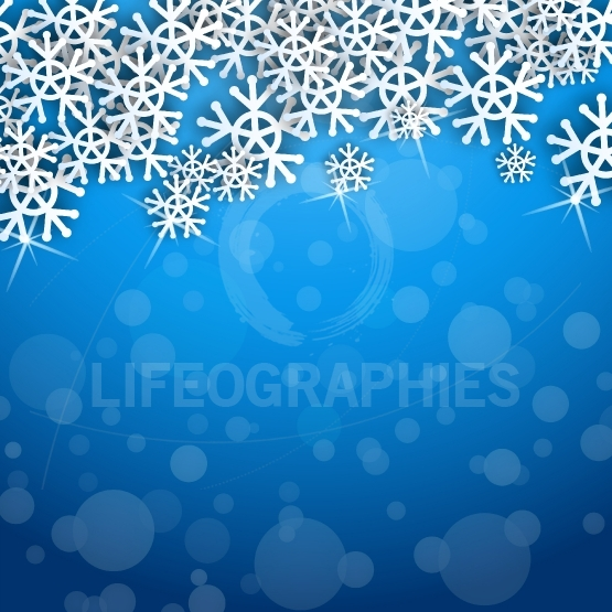 Snowflakes shape on cute blue background