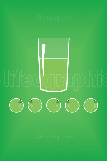 Stylized green apple juice in a glass