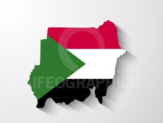 Sudan map with shadow effect
