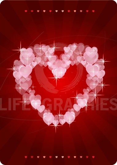 Sweet hearts on red background with lights effects stars greetin