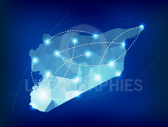 Syria country map polygonal with spot lights places