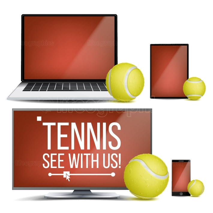 Tennis Application Vector  Court, Tennis Ball  Online Stream, Bookmaker, Sport Game App  Banner Design Element  Live Match  Monitor, Laptop, Touch Tablet, Mobile Smart Phone  Realistic Illustration