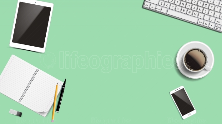 Top View Office Workplace Background Vector  Creative Desk Design  Place For Text  Realistic Mock Up Illustration