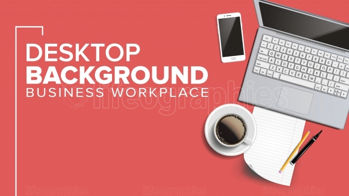 Top View Office Workplace Background Vector  Freelance Minimalism Desktop Composition  Place For Text  Realistic Illustration