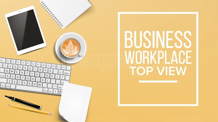 Top View Workplace Background Vector  Development Desk Organization  Computer, Keyboard, Coffee Cup, Smartphone, Notebook, Table  Illustration