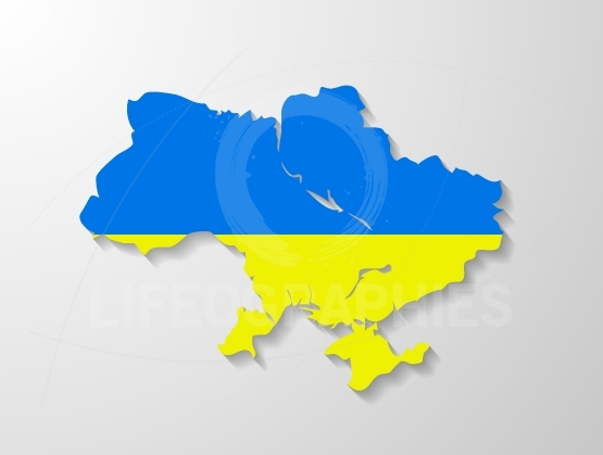 Ukraine flag map with shadow effect