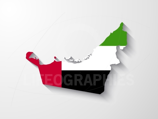 United Arab Emirates map with shadow effect
