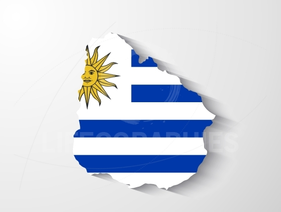 Uruguay map with shadow effect
