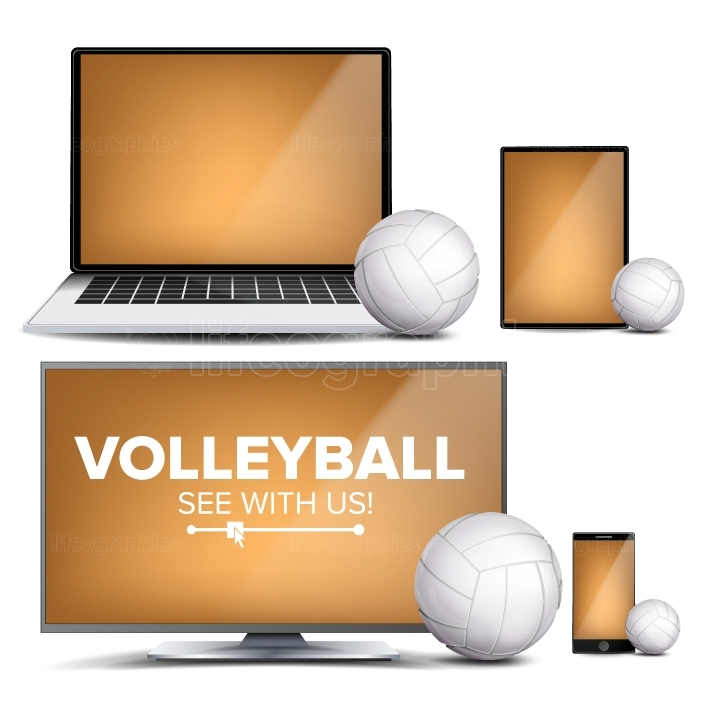 Volleyball Application Vector  Field, Volleyball Ball  Online Stream, Bookmaker, Sport Game App  Banner Design Element  Live Match  Monitor, Laptop, Tablet, Mobile Smart Phone  Realistic Illustration