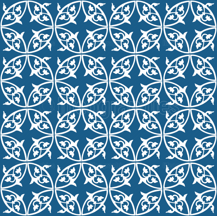 White and blue seamless abstract floral pattern