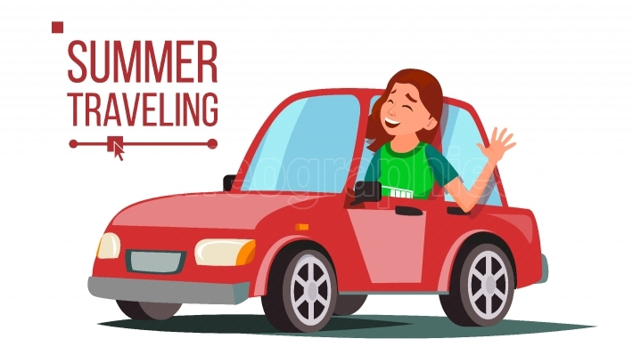 Woman Travelling By Car Vector  Girl In Summer Vacation  Driving Machine  Rides In The Car  Road Trip  Side View  Isolated Flat Cartoon Illustration
