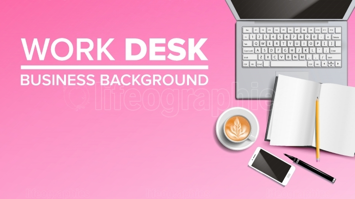 Work Desk Background Vector  Place For Text  Office Management Equipments  Realistic Illustration