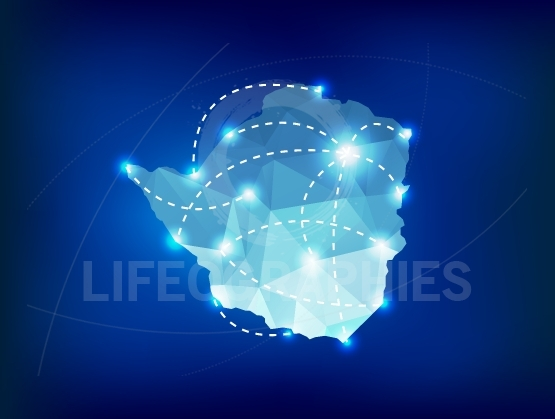 Zimbabwe country map polygonal with spot lights places